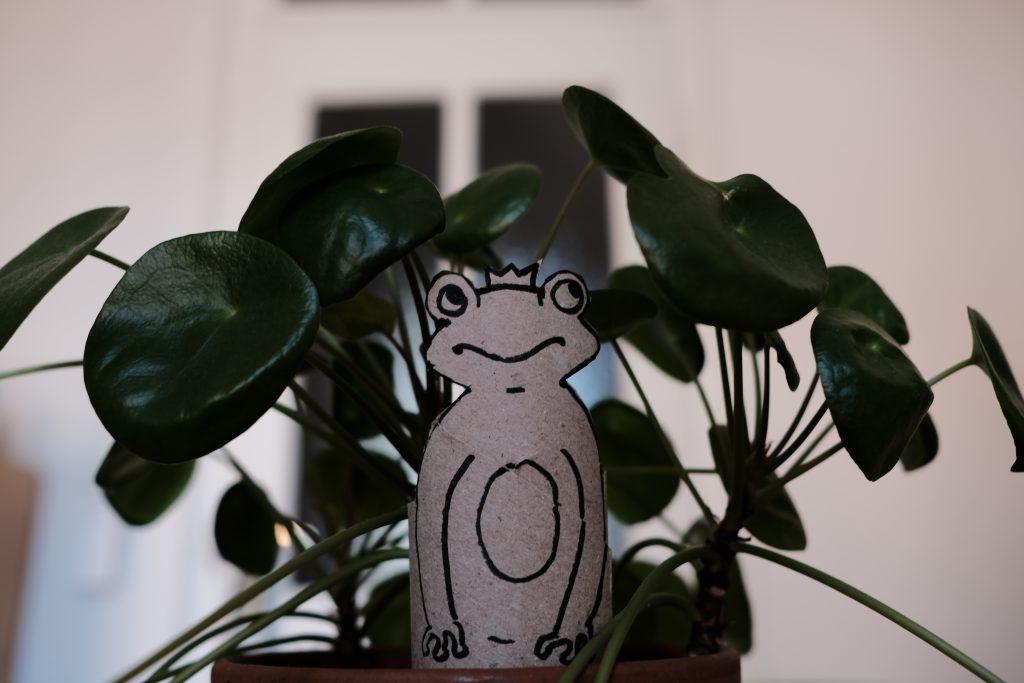Froschkönig Puppe vor Pflanze